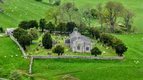 Looking down onto St. Michael's church, Downholme