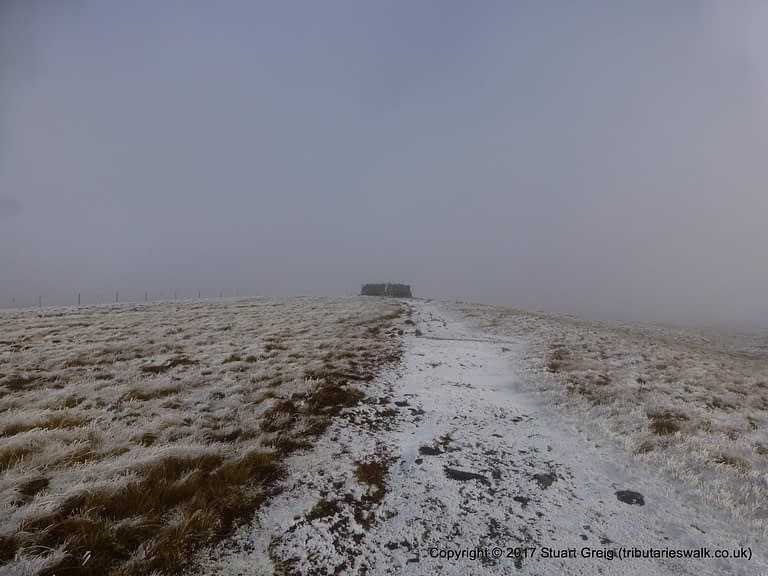 Arriving at the summit of Great Shunner Fell