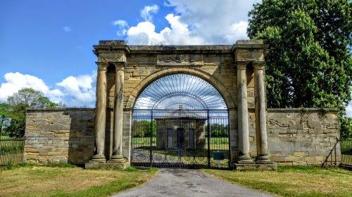 Impressive gates, leaving Thornton le Street Stud