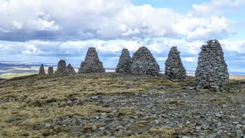 The cairns that make up Nine Standards Rigg