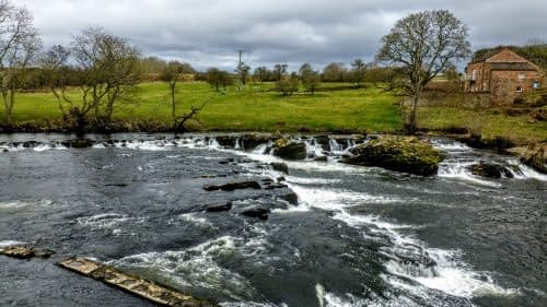 White water in the Eden, approaching Langwathby