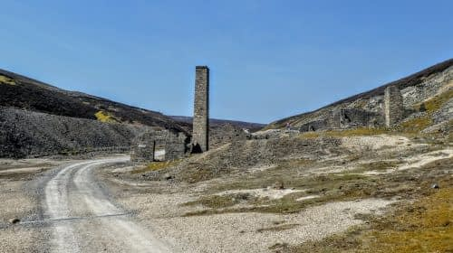 Buildings and chimney, Old Gang Mine